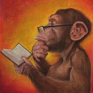 обезьянка любит читать прессу